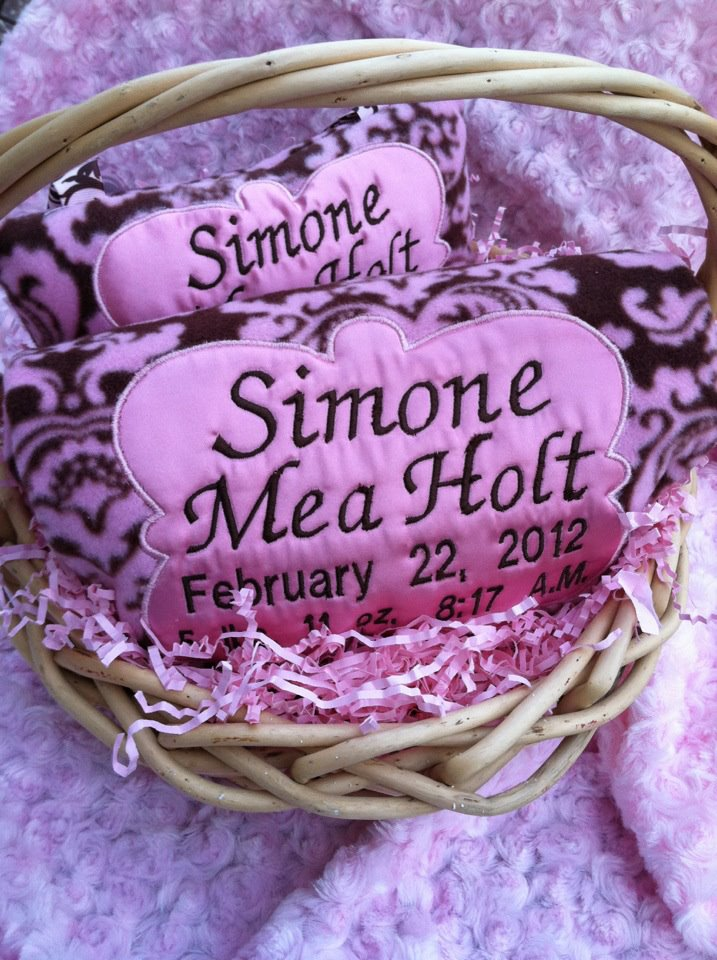 Chocolate & Damask Pink - Birth Announcement Blanket & Pillow Set