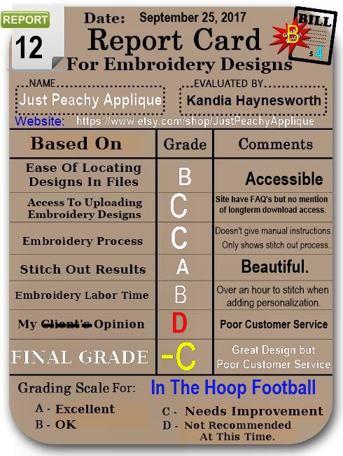 Embroidery Report Cards