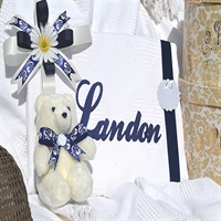 """LANDON"" Personalized Heart Knit Throw & Teddy Bear Set - Single Line"